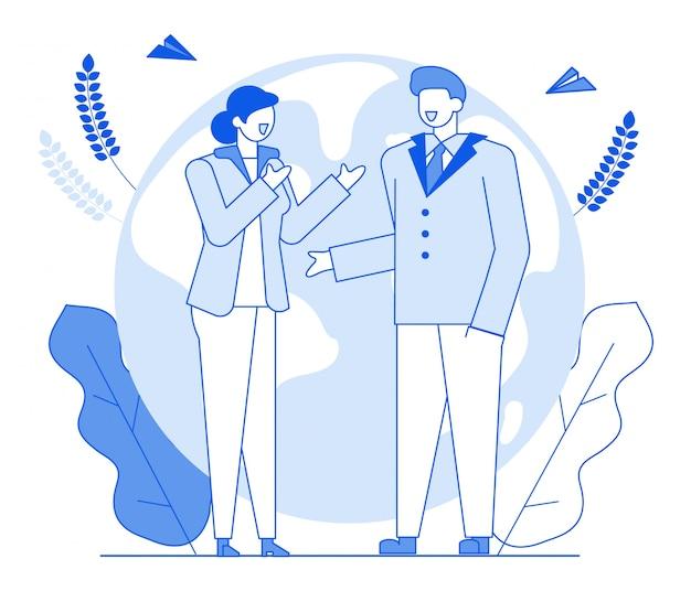 Flache charaktere der modernen karikatur zeichnen die geometrische leuteunterhaltung