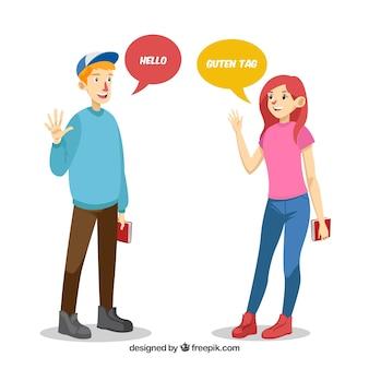 Flache charaktere, die verschiedene sprachen sprechen