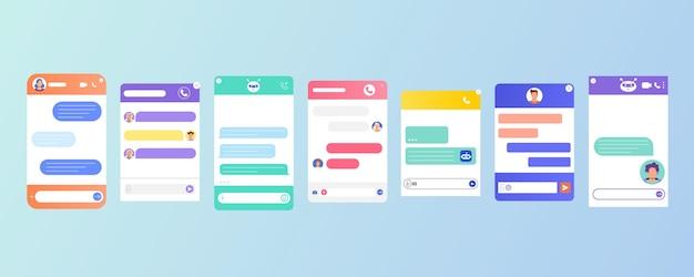 Flache chatbot-dialogfenster mit chatbot-roboter, personenavatar