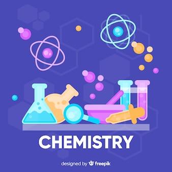 Flache chemie hintergrund