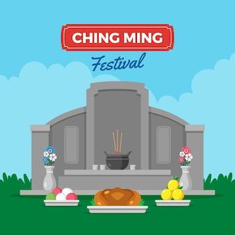 Flache ching ming festival feier illustration