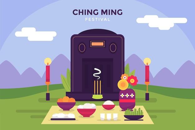 Flache ching ming festival feier illustration Kostenlosen Vektoren