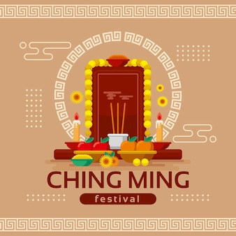 Flache ching ming festivalillustration