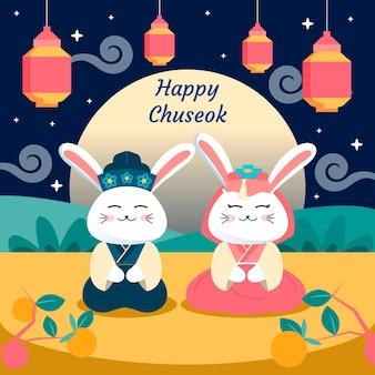 Flache chuseok-illustration mit begrüßung