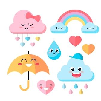 Flache chuva de amor dekorationselementkollektion