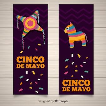 Flache cinco de mayo banner