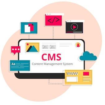 Flache cms webvorlage Kostenlosen Vektoren