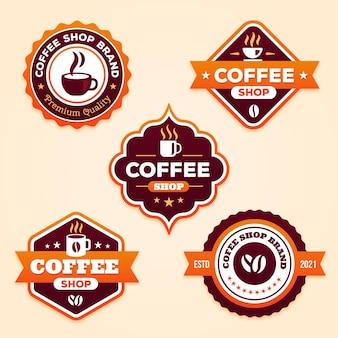 Flache coffeeshop-abzeichensammlung