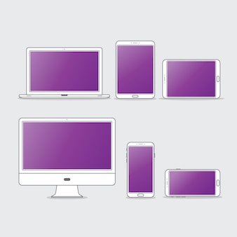 Flache computer-desktop-icon-set