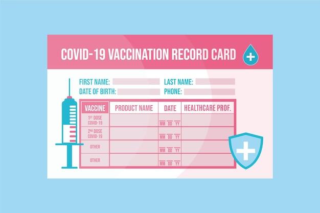 Flache coronavirus-impfaufzeichnungskartenschablone