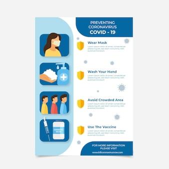 Flache coronavirus-impfflyer-vorlage Kostenlosen Vektoren