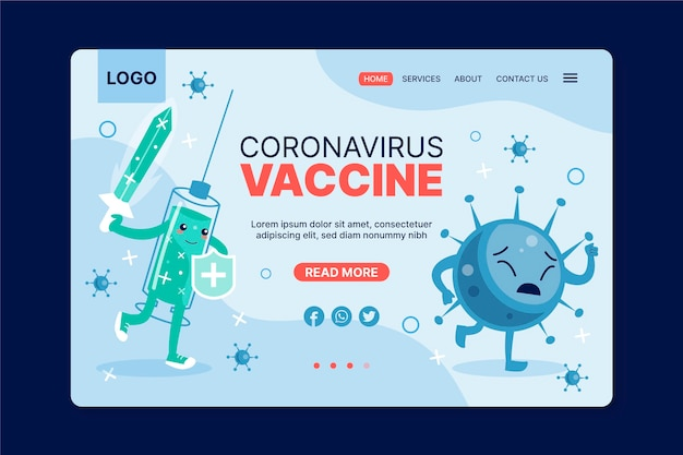 Flache coronavirus-impfstoff-webvorlage