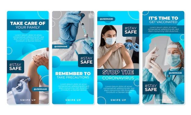 Flache coronavirus-instagram-story-sammlung