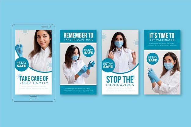 Flache coronavirus-instagram-story-sammlung Kostenlosen Vektoren