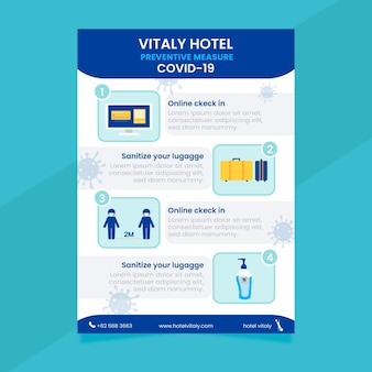 Flache coronavirus-verhinderungsplakatschablone für hotels