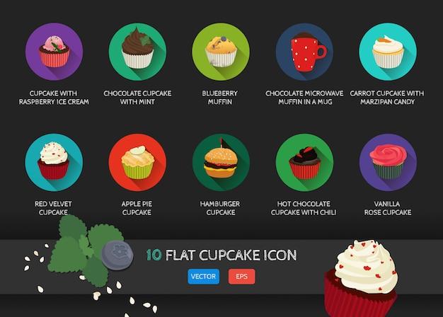 Flache cupcake-sammlung-symbol.