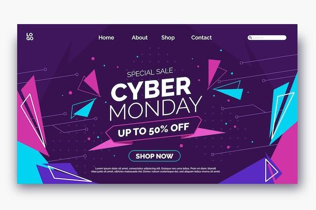 Flache cyber-monday-landing-page-vorlage