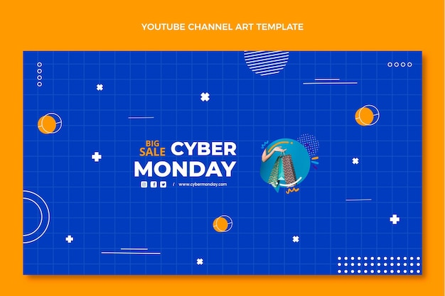 Flache cyber-montag-youtube-kanalkunst