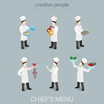 Flache d isometrische art beschäftigt koch bei der arbeit lustige chef konzept web infografiken vektor-illustration icon set kochen salat fisch gericht wurst uniform professionelle werkzeuge kreative menschen sammlung