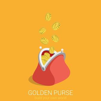 Flache d isometrische kreative goldene geldbörse web-infografiken konzept
