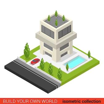 Flache d isometrische kreative moderne dreistöckige wohnung eigentumswohnung hostel pool baustein