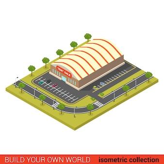 Flache d isometrische zeltverkauf großhandel baustein infografik konzept