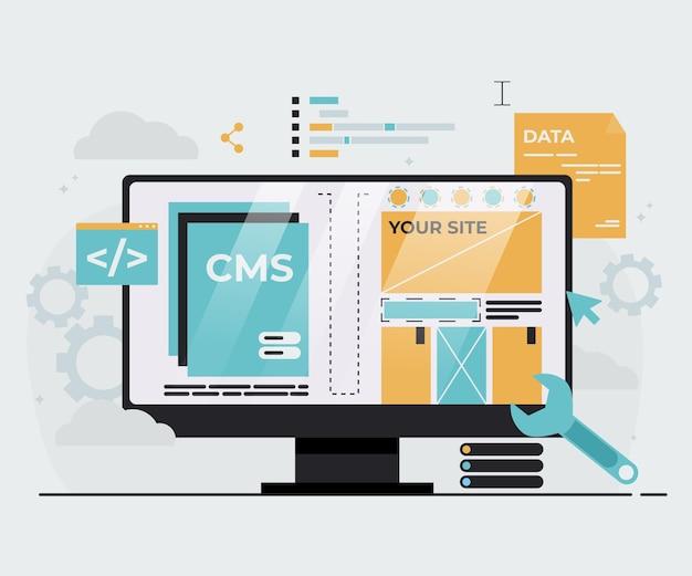 Flache darstellung des content-management-systems