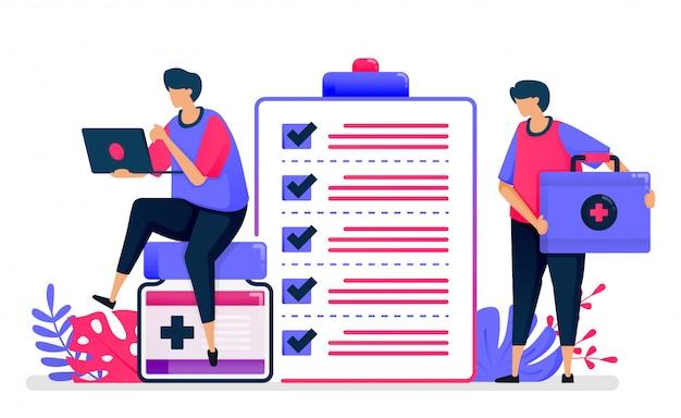 Flache darstellung des gesundheitschecks für patientenakten. erste-hilfe-dienste für öffentliche einrichtungen. design für das gesundheitswesen.