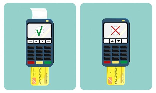Flache darstellung des zahlungsterminals und der kreditkarte
