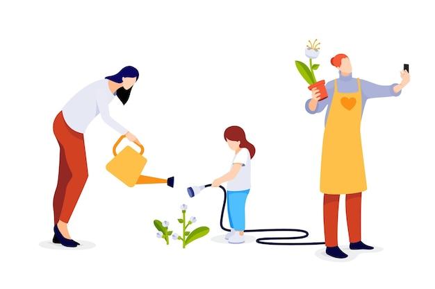 Flache darstellung von menschen, die sich um pflanzen kümmern