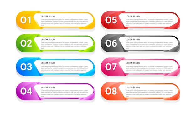 Flache datentabelle business infografik template design mit farbverlauf