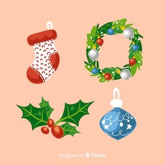 Flache deign weihnachten elementsammlung