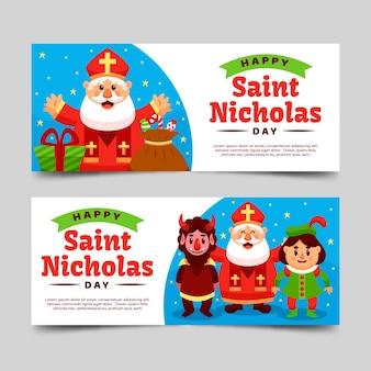Flache deisgn saint nicholas tag banner vorlage
