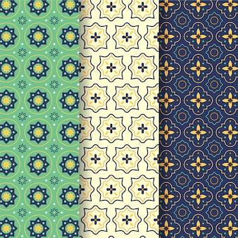 Flache dekorative arabische mustersammlung