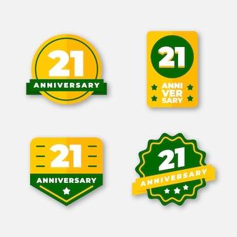 Flache design 21 jubiläum abzeichen sammlung