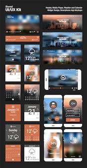 Flache design ansprechende pixel perfekte ui mobile app und website-vorlage mit trendigen unscharfen polygonalen header stadt skyline hintergründe, player app, kalender und wetter app widgets