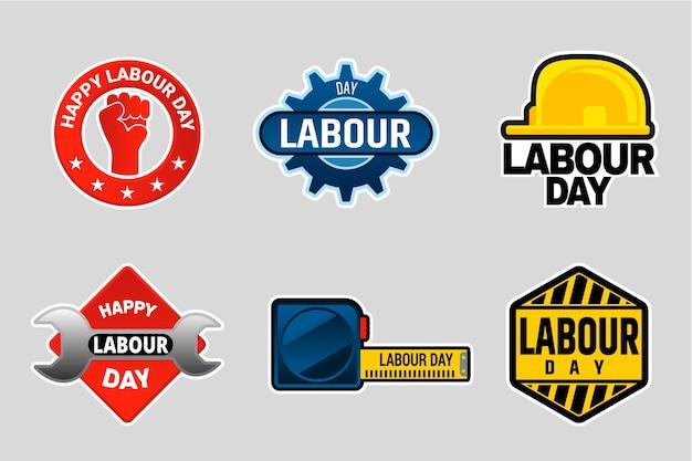 Flache design arbeitstag abzeichen sammlung
