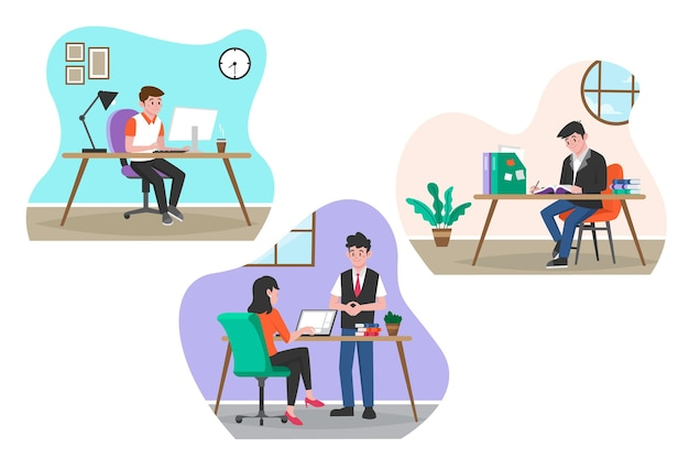 Flache design-arbeitstagszenen