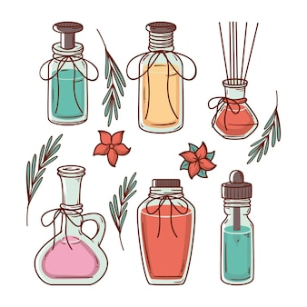 Flache design-aromatherapie-elementkollektion
