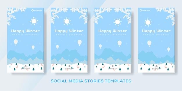 Flache design-banner-vorlage für winterverkaufsgeschichten
