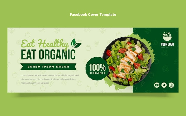 Flache design-bio-lebensmittel-facebook-cover-vorlage