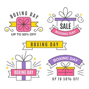 Flache design boxing day abzeichen sammlung