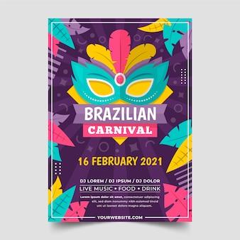 Flache design brasilianische karneval poster vorlage