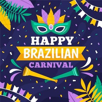 Flache design brasilianische karnevalsmaske