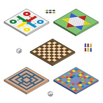 Flache design-brettspielkollektion