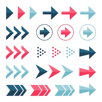 Flache design bunte pfeil-sammlung