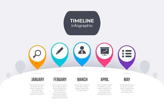 Flache design bunte zeitachse infografik