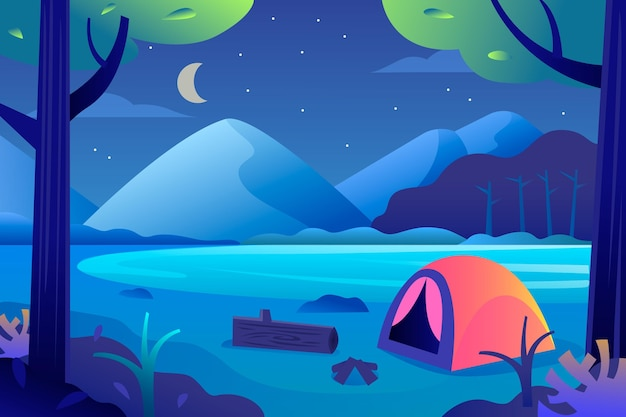 Flache design-campingplatzlandschaft mit zelt und berg bei nacht