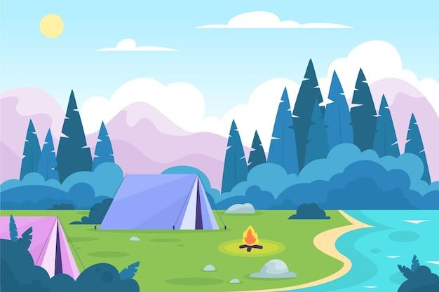 Flache design-campingplatzlandschaft mit zelten