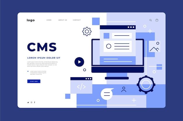 Flache design-cms-landingpage-webvorlage